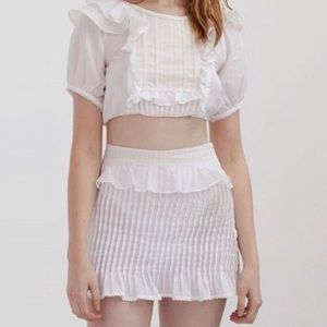 For Love & Lemons Ziggy pintuck white skirt - S
